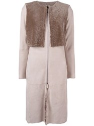 Armani Collezioni Collarless Zip Up Coat Nude Neutrals