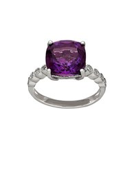 Lord And Taylor Diamond Amethyst Sterling Silver Ring Purple