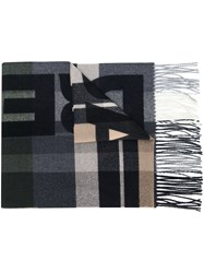 Dsquared2 Checked Logo Scarf Grey