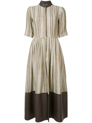 Sophie Theallet Striped Flared Dress Nude Neutrals
