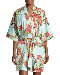 Bedhead Hibiscus Floral Print Short Kimono Robe Multicolor Light Blue