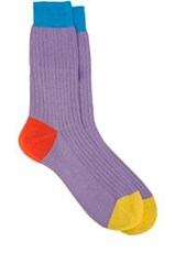 Richard James Ribbed Mid Calf Socks Purple