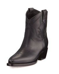 Valentino Leather Cowboy Boots Black