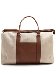 Brunello Cucinelli Canvas And Leather Tote Brown Multi