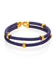 Stinghd 14K Goldplated And Stingray Wrap Bracelet Navy Gold