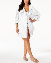 Dotti Plus Size Shirtdress Cover Up Women's Swimsuit White