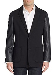 Saks Fifth Avenue Trim Fit Faux Leather Accented Ponte Knit Sportcoat Black