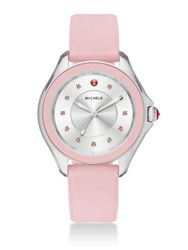 Michele Cape Topaz Stainless Steel And Silicone Strap Watch Powder Pink