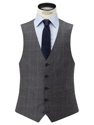 John Lewis Check Super 100S Wool Tailored Fit Waistcoat Grey