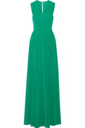Badgley Mischka Pleated Georgette Gown Green