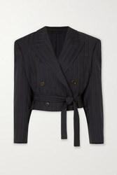 Acne Studios Josie Cropped Double Breasted Pinstriped Wool Blazer Navy
