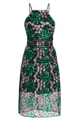 Sam Edelman Embroidered Lace Pencil Dress Pink Green