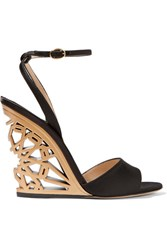 Paul Andrew Kismet Cutout Satin Wedge Sandals Black