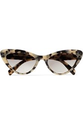 Miu Miu Cat Eye Crystal Embellished Tortoiseshell Acetate Sunglasses