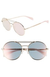 Rag And Bone 59Mm Round Metal Aviator Sunglasses Rose Gold