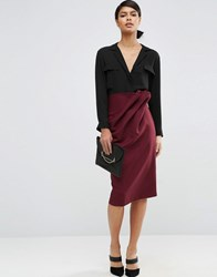 Asos Textured Pencil Skirt With Paper Bag Waist Berry Purple