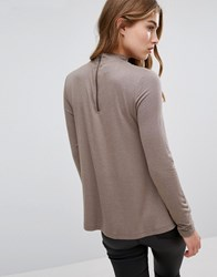 Only High Neck Swing Back Top Rugby Tan Pink