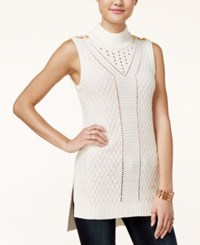 Xoxo Juniors' Pointelle Tunic Sweater Ivory