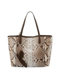 Nancy Gonzalez Erica Soft Python Tote Bag Natural Chocolate