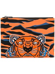 Kenzo Embroidered Tiger Clutch Orange
