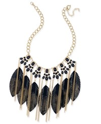 Thalia Sodi Gold Tone Black Stone And Feather Statement Necklace Only At Macy's
