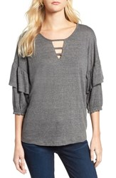 Wit And Wisdom Ruffle Top Charcoal