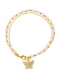 Lord And Taylor Cubic Zirconia Butterly Bracelet Pink