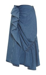 J.W.Anderson J.W. Anderson High Waist Ruffle Denim Skirt Blue