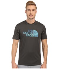 The North Face Short Sleeve Sink Or Swim Rashguard Asphalt Grey Mountain Water Color Print Men's Swimwear Gray