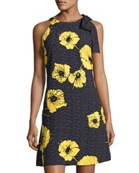 Taylor Floral Print Crepe Trapeze Dress Blue Yellow