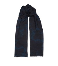 Sandro Modal And Cashmere Blend Scarf Blue