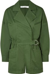 Iro Belo Belted Cotton Blend Twill Playsuit Army Green