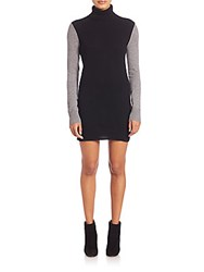 Equipment Oscar Cashmere Colorblock Sweater Dress Black Heather Grey