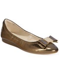 Cole Haan Tali Bow Ballet Flats Women's Shoes Gold Metallic