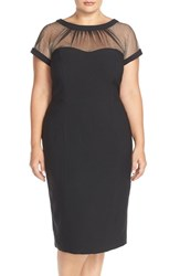 Plus Size Women's Maggy London Illusion Yoke Crepe Sheath Dress