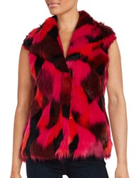 Karl Lagerfeld Patchwork Faux Fur Vest Red Multi