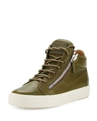 Giuseppe Zanotti X Zayn Men's Leather Double Zip Mid Top Sneaker Olive