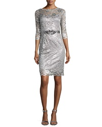 Rickie Freeman For Teri Jon Lace Cocktail Dress W Jewel Charcoal