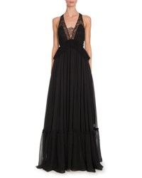 Givenchy Sleeveless Lace Trim Halter Gown Black