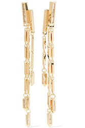 Eddie Borgo Twill Fringe Gold Plated Cubic Zirconia Earrings One Size