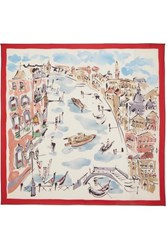 Loro Piana Venice Printed Cashmere And Silk Blend Scarf Red