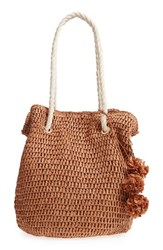 Tommy Bahama Mama Straw Bucket Bag Brown Toffee