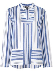 A.P.C. Multi Stripe Slit Neck Top Women Cotton 42 White