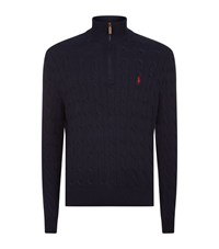 Polo Ralph Lauren Half Zip Cable Knit Jumper Male Navy