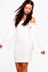 Boohoo Frill Detail Wide Sleeve Bodycon Dress Ivory