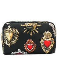 Dolce And Gabbana Sacred Heart Printed Pouch Black