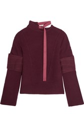 Sacai Felt Paneled Wool Sweater Burgundy