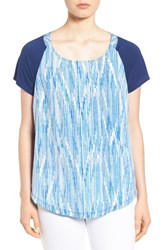 Women's Nydj Print Front Mixed Media Tee Falling Water Blue