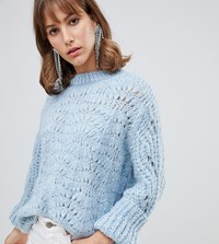 River Island Stitch Sweater In Light Blue Blue