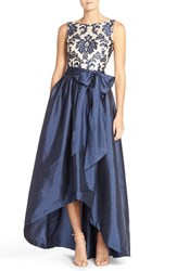 Women's Adrianna Papell Embroidered Lace And Taffeta Ballgown